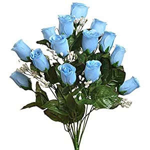 Colorful 14 Long Stem Roses Buds ~ Light Blue ~ Silk Wedding Flowers Bride Bouquet Decor 67