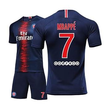 LHWLX 2019 Traje Deportivo Camisetas y Shorts de fútbol, 7 Chico Uniforme de Futbol para los Aficionados al Futbol Mbappé- Adultos y niños