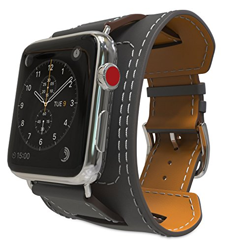 MoKo Compatible Band Replacement for Apple Watch 42mm 44mm Series 5/4/3/2/1, Genuine Leather Smart Watch Band Cuff Replacement Strap - Quartz Gray (Not Fit 38mm 40mm Versions)