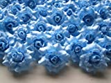 (100) Silk Sky Blue Roses Flower Head - 1.75'' - Artificial Flowers Heads Fabric Floral Supplies Wholesale Lot for Wedding Flowers Accessories Make Bridal Hair Clips Headbands Dress