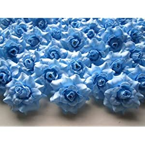 "(100) Silk Sky Blue Roses Flower Head - 1.75"" - Artificial Flowers Heads Fabric Floral Supplies Wholesale Lot for Wedding Flowers Accessories Make Bridal Hair Clips Headbands Dress 10"
