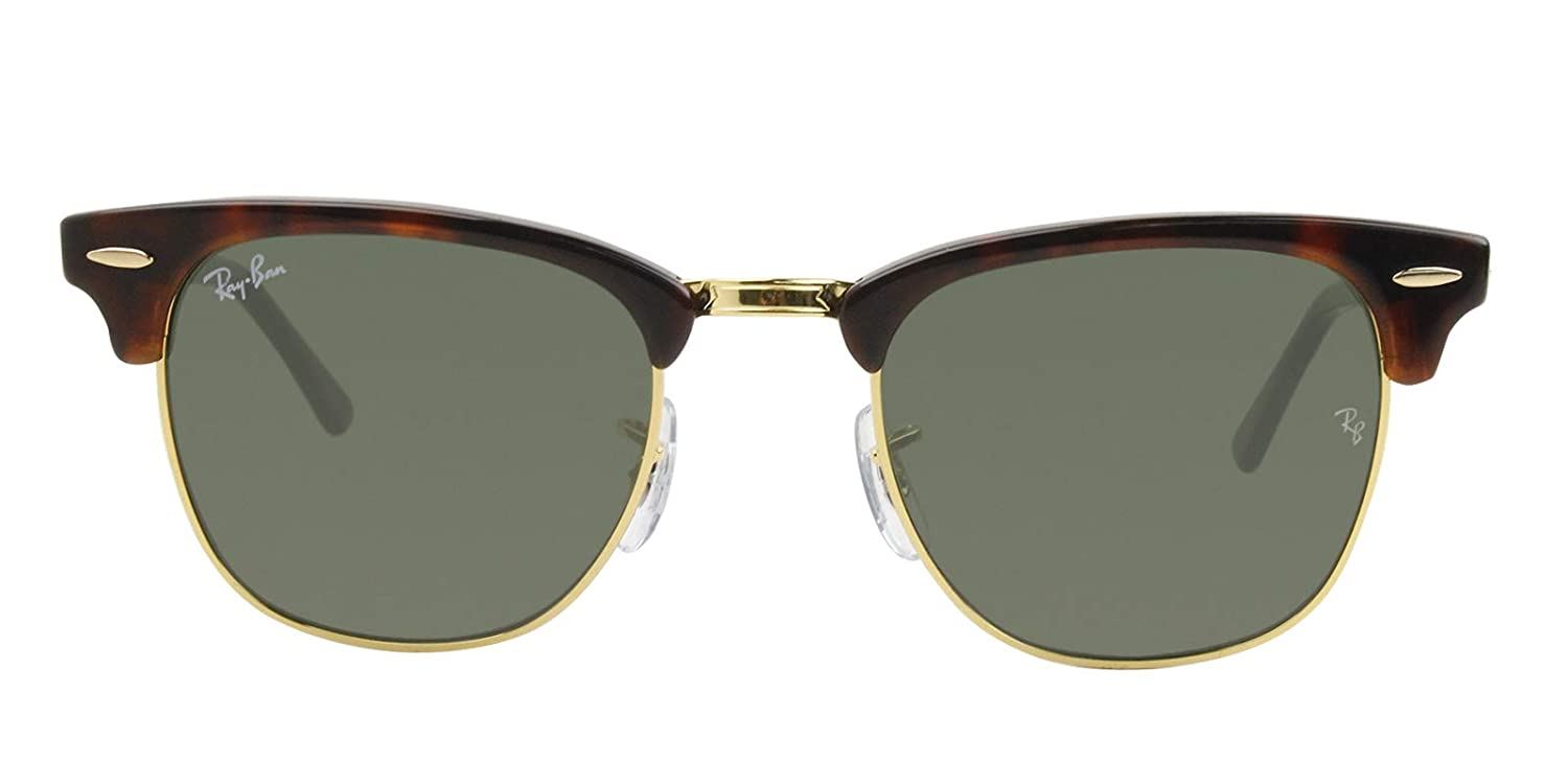 52a86c6d0e6 Amazon.com  Ray-Ban Authentic Clubmaster RB 3016 W0366 49mm Tortoise Gold    Green  Clothing