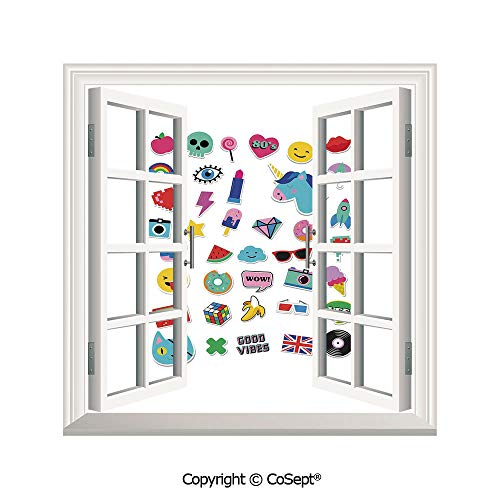 SCOXIXI Creative Window View Wall Decor,Pop Culture Elements Good Vibes Ice Cream Rocket Donut Star Cartoon Style Drawing Decorative,Window Stickers Have Beautiful Scenery(26.65x20 inch)