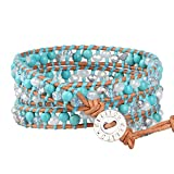 KELITCH Wrap Bracelets for Women Handmade Created-Turquoise Bracelet on Genuine Leather, Adjustable