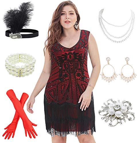 1920s Flapper Plus Size Dresses V Neck Bead Fringed Great Gatsby w/ 20s Accessories Set (XXXL, Black Red)]()