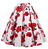Changuan Women's A-line Pleated Vintage Skirt Print Casual Flared Midi Skirts White-Rose-Large