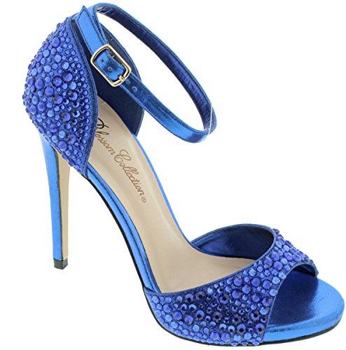Women's Rhinestone Ankle Strap High Heel Sandal Royal Blue 6 (Heel Rhinestone Blue High)