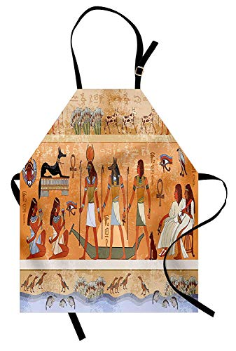 T&H Home Egyptian Apron, Ancient Scene with Pharaoh Figure Hieroglyphic Temple Nefertiti Civilization Theme, Unisex Kitchen Bib Apron Adjustable for Kids Adults Cooking Baking Gardening, Multicolor]()