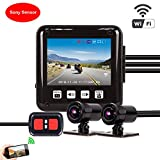 VSYSTO P6F Motorcycle Camera Full Body Waterproof Dual Dash Cam System 1080P WiFi with Front and Rear View Lens Driving Recorder