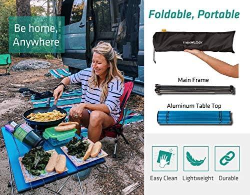 Mesa Plegable y Resistente con Bolsa Propia para IR de Picnic a la Playa o Usar en un Barco Acampada Trekology mesas port/átiles auxiliares de Camping con Superficie de Aluminio