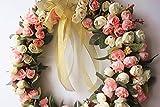 Door wreath Silk Rose Flower Head Home Decor (champagne pink)