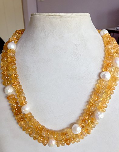 925 Sterling Silver Semi Precious Citrine Melon Freshwater Pearl Beaded Jewelry Necklace