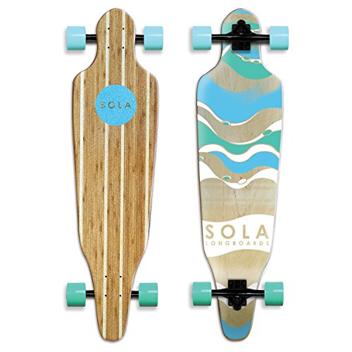 Sola Bamboo Premium Graphic Design Complete Longboard Skateboard - 36 to 38 inch (Wave)