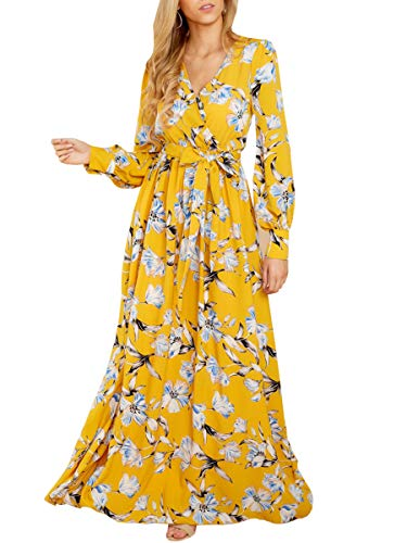 Chuanqi Womens Sexy V Neck Long Sleeve High Waisted Chiffon Floral Long Maxi Dress with Belt (X-Large, Yellow)