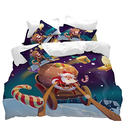 VITALE Quilt Cover Twin Size,Cartoon Christmas Duvet Cover Twin Size,3 Pieces Santa Claus Sleigh Printed Bedding Set,for Kids Bedroom Home Decor