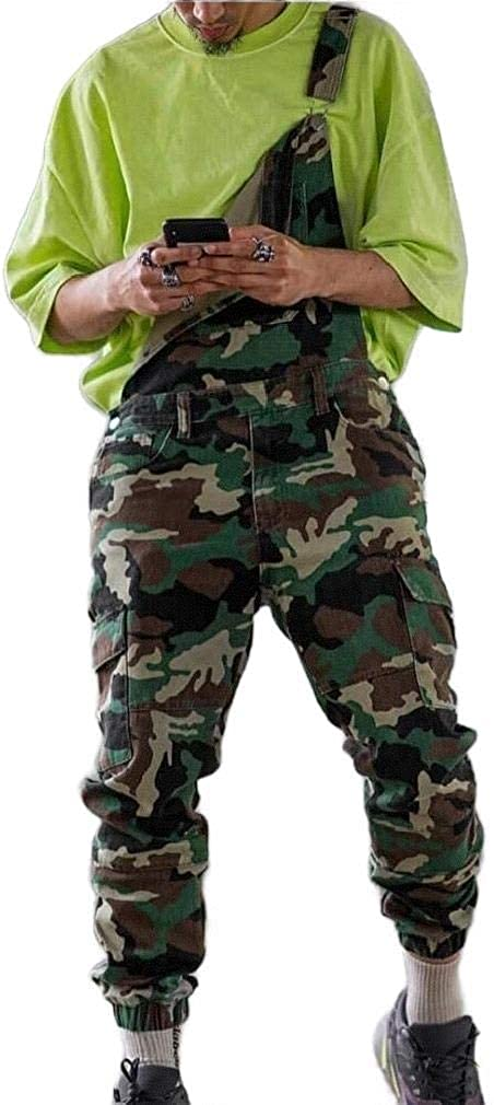 OHR Mens Ripped Hole Casual Camo Jumpsuit Pockets Bib Overall