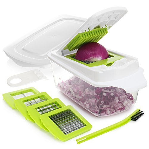 Onion Chopper Pro Vegetable Chopper Slicer Dicer Cutter - Strongest 80% Heavier Duty 200% More Container Capacity - Cheese & Veggie Chopper - Food Chopper Dicer with 4 Blades & ()