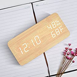 Wooden LED Digital Alarm Clock with 3 Levels Adjustable Brightness, Acoustic Control Electronic Clock with Time Temperature Humidity-Bamboo