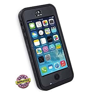 EDAY 6.6 ft Underwater Waterproof Shockproof SnowProof DirtProof Durable Full Sealed Protection Case Cover for iPhone 5 5C (Black)