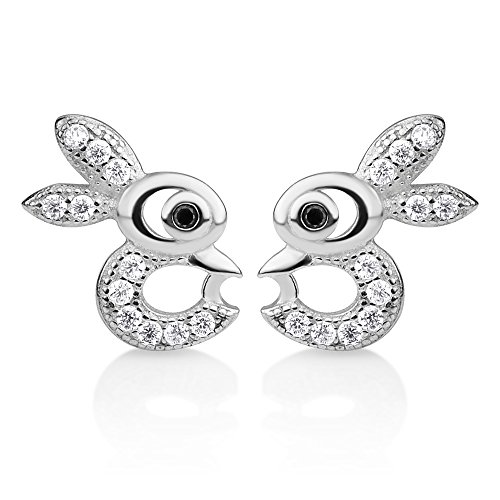 925 Sterling Silver CZ Stones Tiny Little Bunny Rabbit Lover Cut Open Post Stud Earrings 9x11 mm