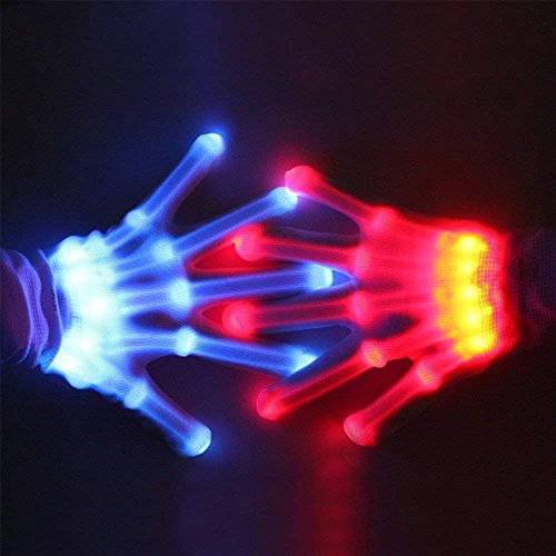 Spreaze 12 Color Changing Flashing Skeleton Gloves, for Novelty Christmas Gift, Halloween Costume Party Concert, 1 Pair, White