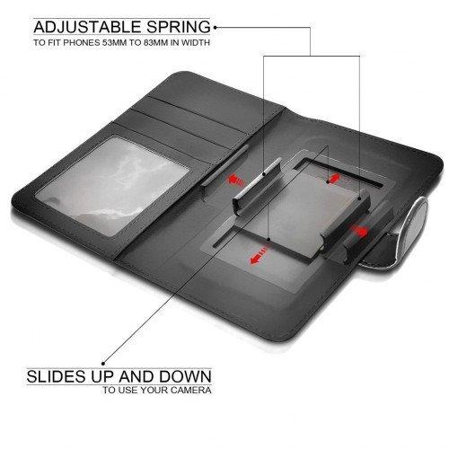 BLU Selfie Titular de la tarjeta identificación de la carpeta de muelle ajustable cubierta de la caja (Negro) Plus de regalo libre, Protector de pantalla y un lápiz óptico, Solicitar ahora mejor caja