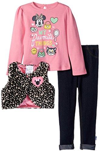 Disney Baby Girls' Minnie Mouse 3 Piece Vest, Top, and Pants, Pink, 18 (Vest Top Pants)