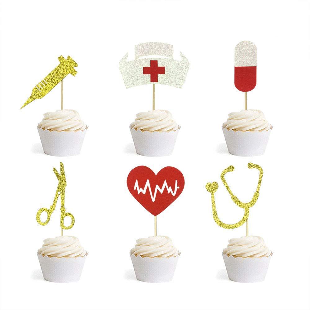 Nursing Cupcake Toppers Nurse Graduation Cupcake Toppers Medical Rn Themed Cake Picks Nursing Cupcake Decorations 36PCS