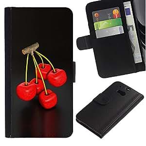 Lead-Star (Cool Cherry Berry Twig Red Delicious Nature) Colorida Impresión Funda Cuero Monedero Caja Bolsa Cubierta Caja Piel Card Slots Para HTC One M8