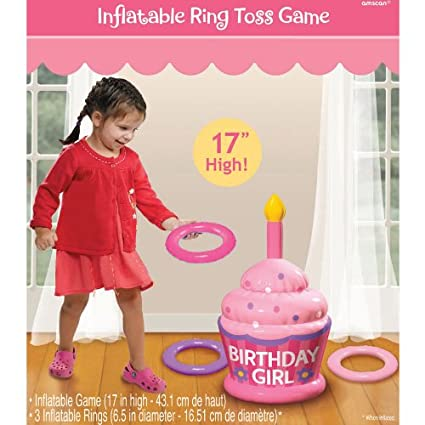 amazon com inflatable birthday girl ring toss game toys games