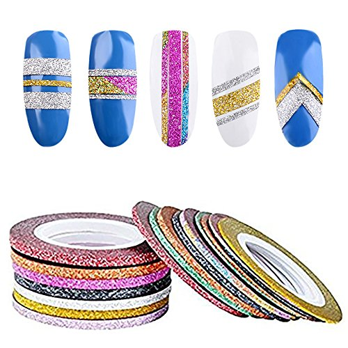 Metallic Nail Art - Biutee Mixed Colors Scrub Metal Gold Silver 30Pcs 1mm 2mm 3mm Nail Striping Tape Line 10color Nail Art Decoration Sticker Nail Art Metallic Yarns Strips For Nails Decorations DTY Nail Decal Tools