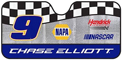 NASCAR Chase Elliott Number 9 Car Windshield Sun Shade Blocks UV Rays Sun Visor Protector, Sunshade To Keep Vehicle Cool, Easy To Use, Fits Most Cars, SUVs, Pick Up Trucks, Smaller RVs