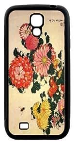 Rikki KnightTM Katsushika Hokusai Art Chrysanthemum and Bee Design Samsung? Galaxy S4 Case Cover (Black Hard Rubber TPU with Bumper Protection) for Samsung Galaxy S4 i9500 by runtopwell