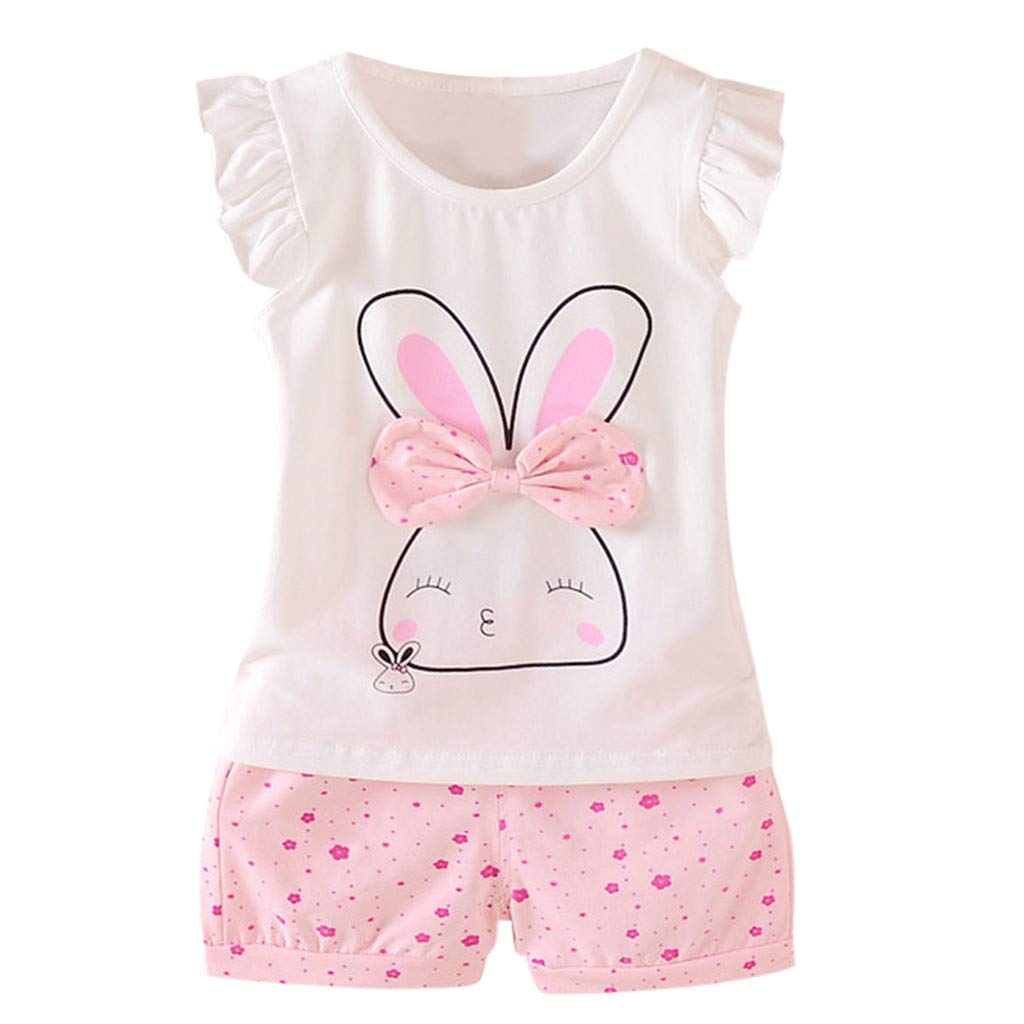 2pcs Baby Girls Outfit, 2019 Toddler Kids Fly Sleeve Rabbit Print Bow Tops + Dot Short Casual Outfit Sets (2-3 Years, Pink)
