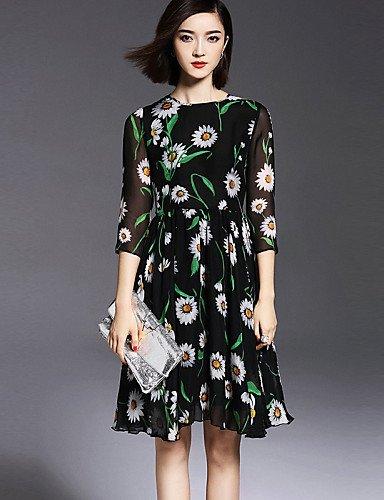 PU&PU Robe Aux femmes Swing Vintage,Imprimé Col Arrondi Mi-long Polyester , black-l , black-l