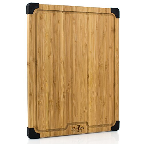 Large Bamboo Cutting Board With Non Slip Silicone Feet, Natural Organic Bamboo Chopping Board With Groove, 16