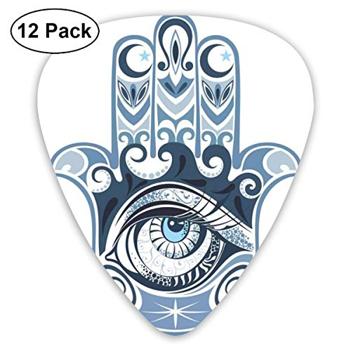 Guitar Picks - Abstract Art Colorful Designs,Cultural Good Luck Amulet Hand Drawn Artsy Magical Superstitious Sacred,Unique Guitar Gift,For Bass Electric & Acoustic Guitars-12 Pack