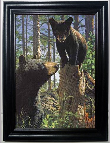 - MOTHER AND CUB 3D FRAMED Wall Art----Lenticular Technology Causes The Artwork To Have Depth and Move-HOLOGRAM Style Images-HOLOGRAPHIC Optical Illusions By THOSE FLIPPING PICTURES