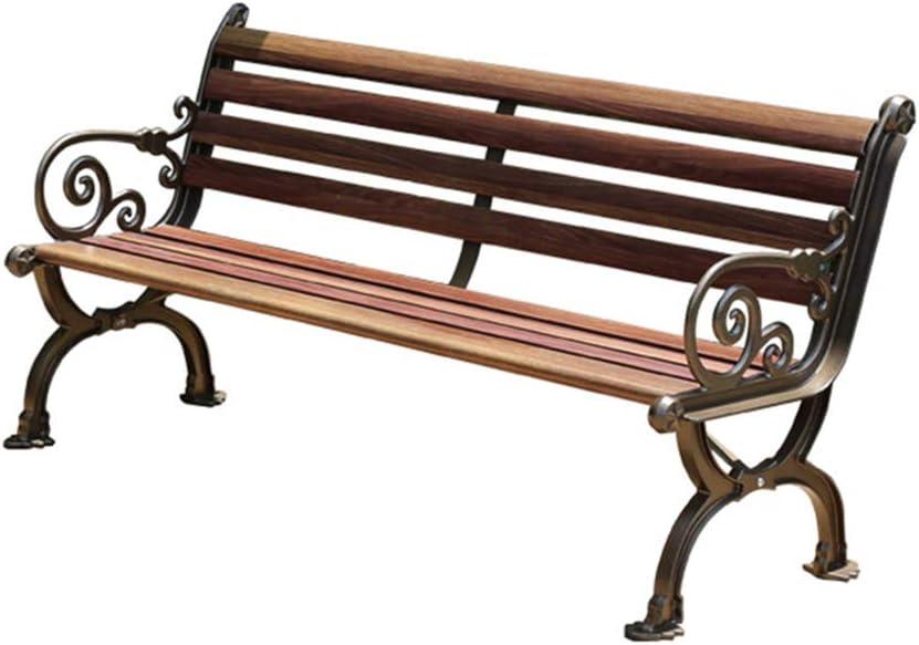 XLOO Patio Jardín Banco Parque Patio Muebles de Exterior Marco de Acero Silla de Porche, Hierro Fundido Diseño Antiguo Patio al Aire Libre Porche Hogar Jardín Parques Patio Trasero Piscina