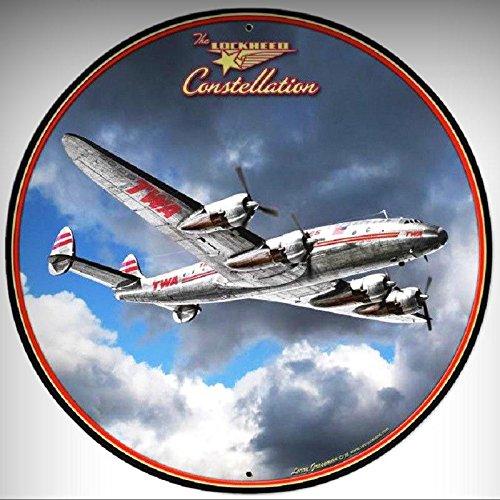 (LOCKHEED TWA CONSTELLATION AIRPLANE DIE CUT ROUND CIRCLE SIGN for Home/Man Cave Decor by PrettyMerchant)