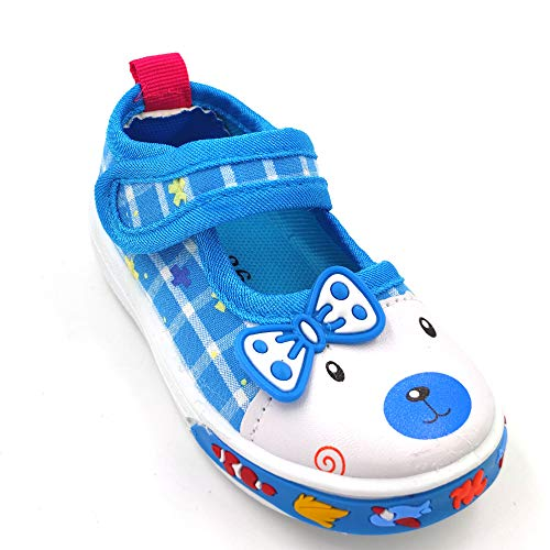 Urbanfeet Chu chu Sound Walking Cute Puppy Cartoon Shoes for Baby Girls | Age Group 12-24 Months | Royal Blue & Pink