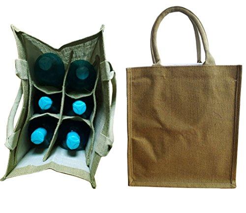 KVR Eco Environment Friendly natural Jute burlap wine beer carrier bag (6 bottle bag, Olive)