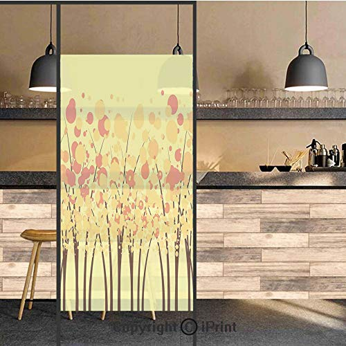 3D Decorative Privacy Window Films,Colorful Autumn Fall Forest with Dotted Flowers Stylish Seasonal Texture Home Decorative,No-Glue Self Static Cling Glass film for Home Bedroom Bathroom Kitchen Offic