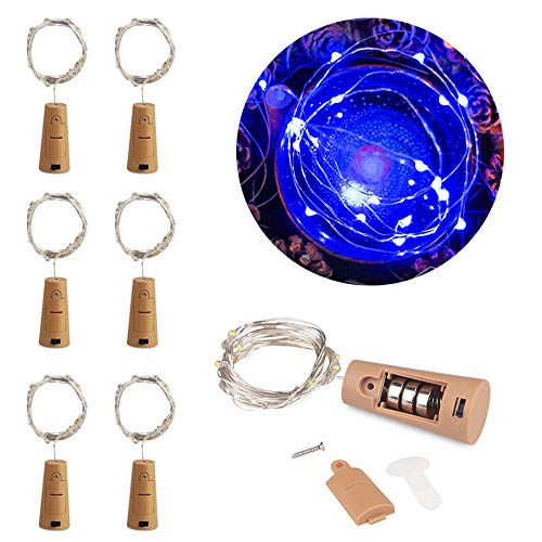 MOMO Set of 6 Blue Wine Bottle Cork Lights - 2m 20 LED Copper Wire Lights String Starry Battery Powered Fairy Lights for DIY, Party, Decor, Christmas, Halloween, Wedding or Mood Lights
