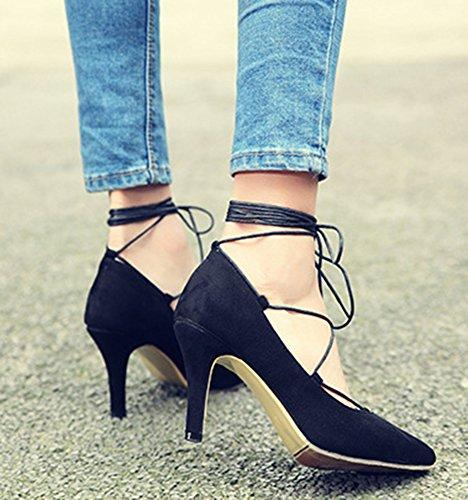 Easemax Mode Féminine Pointu Haut Talon Aiguille Auto-toe Pompes Chaussures Noir
