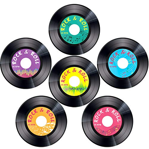 Record Cutouts 1950's Rock and Roll Music Party Two Sided Decoration 30pcs 7 ()