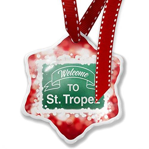 Christmas Ornament Green Sign Welcome To St. Tropez, red - Neonblond by NEONBLOND