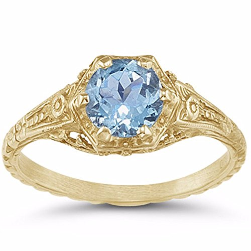 Antique-Style Victorian-Period Floral Blue Topaz Ring in 14K Yellow Gold - Size 4 ½ 14k Yellow Gold Victorian Antique
