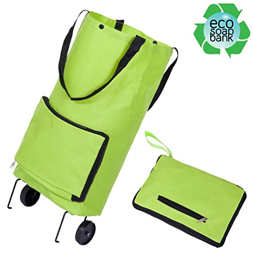 Resuable Foldable Wheeled Shopping Cart Bag Soft-Shell Tote Box with - Oxford Malls Shopping