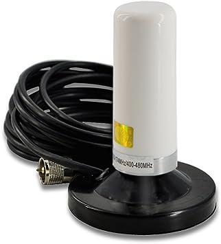 Antena móvil de doble banda VHF UHF EasyTalk HH-N2RS Antenas de alta ganancia de largo alcance con soporte magnético para el transceptor de radio de ...